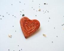 Red Heart ceramic brooch, Boho Bih Heart broch, Art Ceramic broch pin Red Accessory Bohemian handmade jewelry