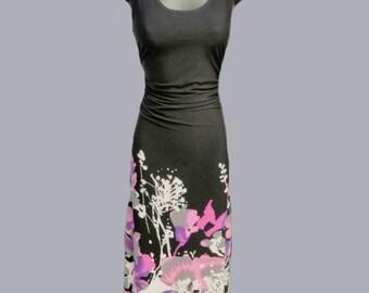 Dress / Maxi / long / Collection Space / flowers / lilac / purple / black / round neckline
