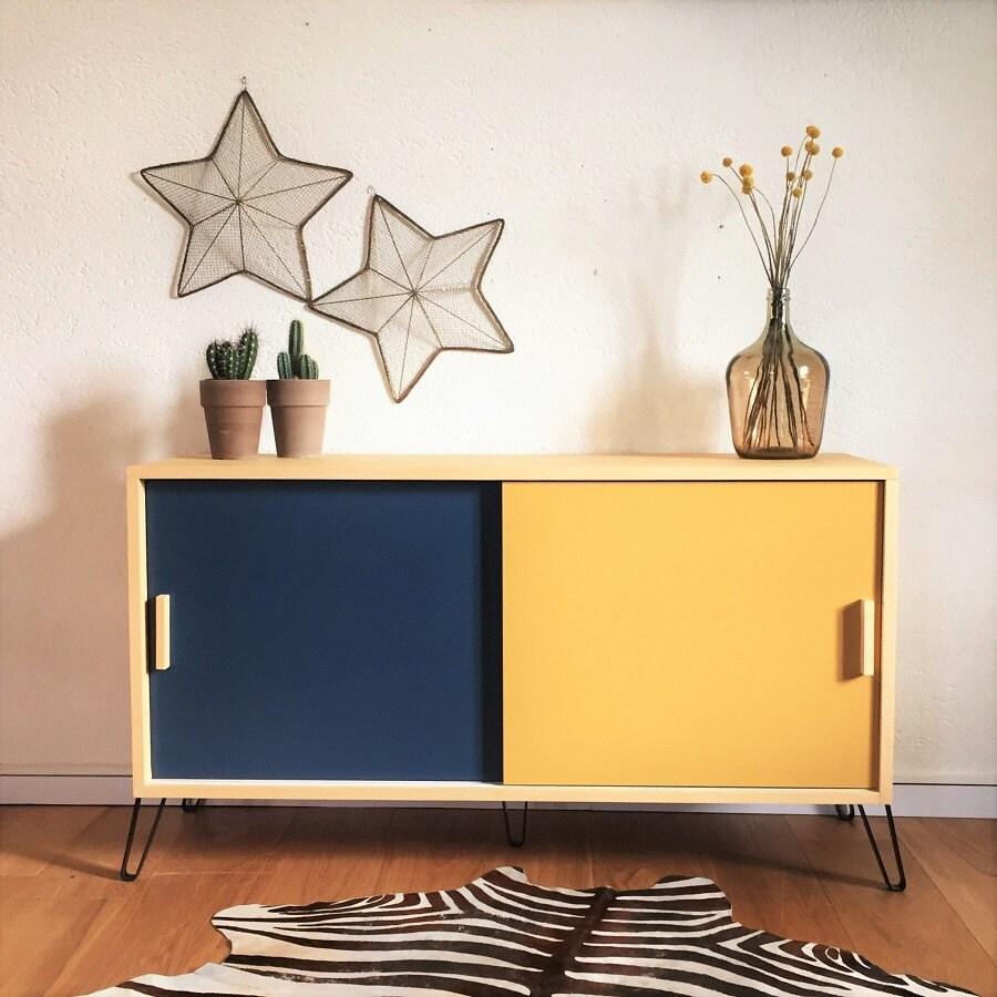 Enfilade meuble tv style vintage scandinave buffet bas for Buffet bas pour tv