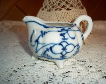 Victorian Flow Blue Onion Delft Creamer Diminutive Porcelain Blue and White Hard To Find Sweet Antique Creamer Collectible