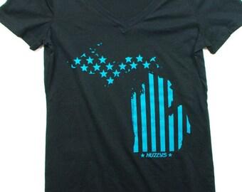 State of Michigan ladies V neck, Michigan Fourth of July Shirt, Michigan Shirt, State of Michigan Shirt