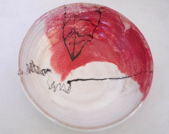 Red Scribble  Handmade Stoneware  bowl