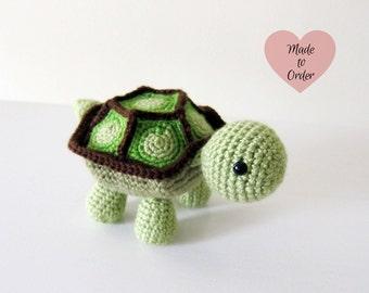 MADE TO ORDER: Amigurumi Turtle Baby Crochet Stuffed Toy