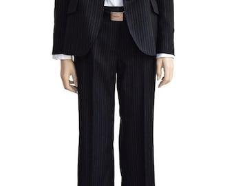 Vintage Suits, Black Wool Pinstripe Suit,  Women's Suits, Black Suits, Anne Klein, Wool Suit, Women's Vintage Clothing, Women's Clothing