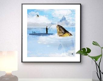 THE fisherman, illustration digital collage