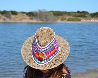Sale............30% off........SUMMER ETHNIC HAT, Multicolor hat, Hippie Hat, Grass Hat