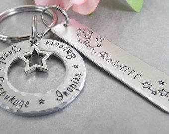Hand Stamped Teacher Key Chain- Teacher Gift -  Personalized Key Chain - Charm Jewelry - Personalized Hand Stamped Aluminum Key Chain