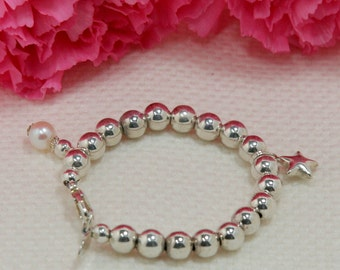 Little Star Sterling Silver Bead Bracelet with Gem Charm