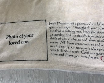 Personalized Throw Blanket for someone missing a loved one that has passed away.