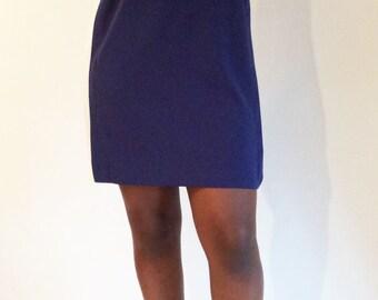 80's long sleeved Navy and Ivory Mini Dress