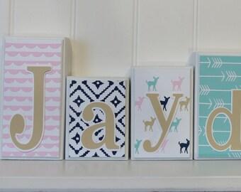 Arrow Decor - Pink Gold Teal - antler decor - Arrow Decor - Little Girl Nursery Decor - Little Girl Bedroom Decor - Baby Name Decor Sign
