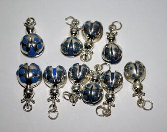 Blue Ladybug Charms #406