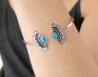 Turquoise Cuff Bracelet-Turquoise Jewelry-Southwest Turquoise Bracelet-Turquoise Bracelet-Gift for Girlfried-Gift for Her-Boho Silver Bangle