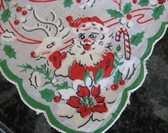 Vintage Cotton Christmas Santa Handkerchief Hanky