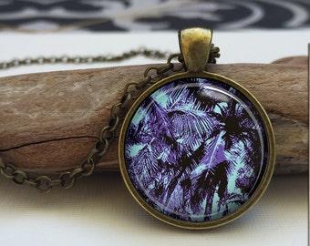 Tropical Summer  Palm trees art pendant . Tropical Blue necklace