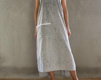 Grey Midi Dress + Pocket + Side Splits + Hand Painted +Racerback