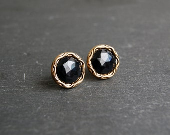 Black Stud Earrings, Black and Gold Stud Earrings, Black Post Earrings, Small Black Earrings, Black Button Earrings, Gifts For Her