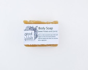 Carrot and Sweet Potato soap -All Natural Soap, Handmade Soap, Unscented Soap, Vegan Soap