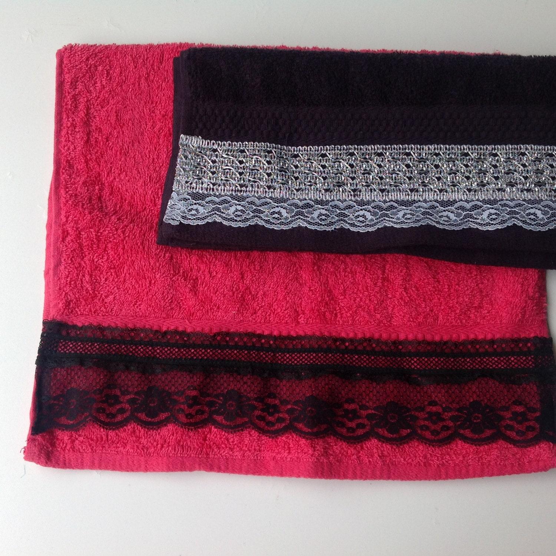 Red Towels Bathroom: Black Hand Face Towel Set Red Hand Towel Bathroom By