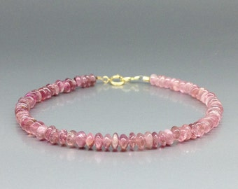 Pink Tourmaline - Rubellite - bracelet  with 14K gold plated clasp - gift idea