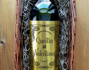 Wedding Wine Label - Custom Wine Label - Personalized Wine Label - Wedding Wine Bottle Label - Pack of 4 Labels