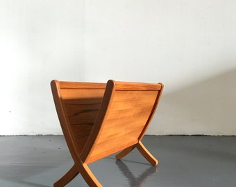 Vintage Mid Century Danish Modern Teak Magazine Rack Holder