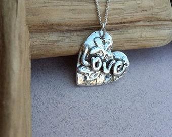 Handmade fine silver Love Heart pendant charm necklace