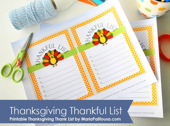 10 Last Minute Thanksgiving Crafts: I know you may not have time lately to plan your kid's little gifts or party favors for Thanksgiving but don't worry help is on the way! here you have some last minute ideas for Thanksgiving by Mariapalito www.partymazing.com ON SALE Thanksgiving Thankful List, printablre Cute Turkey Thanksgiving List, I'm Thankful For, Thankful Sheet, Instant Download A495