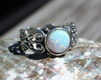 Fiery White Opal Ring - Size 7 or 8. Sterling Silver