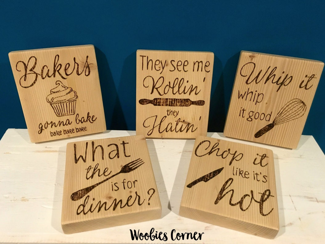 Set Of Five Kitchen Quotes Funny Kitchen Signs Wood Kitchen Signs Rustic