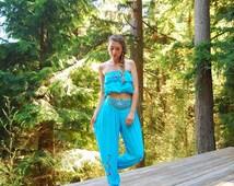 70s Embroidered Harem Pants + Crop Top Set, Aqua Blue Rayon Gauze Pants + Tube Top Two Piece Set, Gypsy Belly Dancer Costume, Bali Dress S