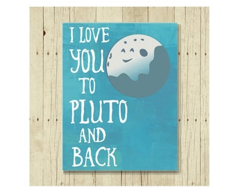 I Love You Magnet, Funny Magent, Refrigerator Magnet, I Love You to Pluto, Cute Fridge Magnet, Gifts Under 10, Small Gift, Gift Magnet
