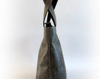 Gray Distressed Italian Calf Leather Tote Bag - Women Bag