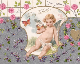 Vintage Valentine Valentine's Day angel flowers floral postcard digital download printable instant image