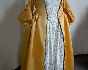 10% off!  18th century yellow dress, multiple choice of sizes! Colonial cosplay Marie Antoinette Rococo 1700s halloween carnival reenactment