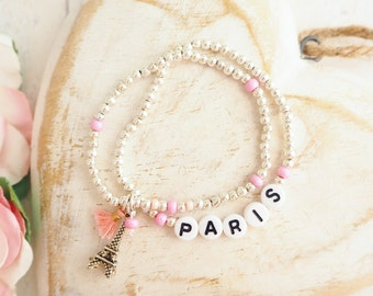 Paris Charm Bracelet | Silver Beaded Bracelet | Set of Two