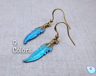 Feather earrings, Bohemian Jewelry, Minimalist earrings, Wiccan Jewelry, Gypsy Jewelry, Samhain Jewelry, Boho Chic jewelry, Boho Jewelry