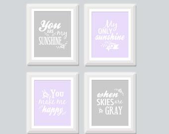 You Are My Sunshine Wall Art Art Print Set of Four, Aqua Yellow Gray Purple Teal Nursery Art, Baby Girl Nursery Art, Neutral Nursery Decor