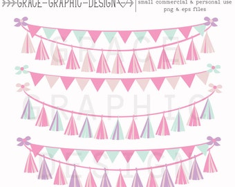 Clipart, Pink Tassel Garland Clipart, Commercial Use Clipart, Pink Bunting Banner Clipart Set,