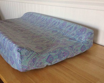 READY TO SHIP Cotton Changing Pad Cover Lavender Lilac Purple Seafoam Blue Green Teal Turquoise Paisley Baby Girl (Angular Edge Contoured)