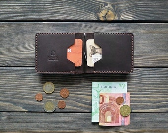 Leather Money Clip Wallet Men Bifold Personalized Gift Hand Made