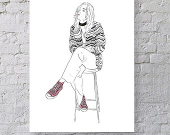 Pink Converse Harry Styles - One Direction - Another Man Magazine - Illustration - Print - 1D - Digital - Drawing