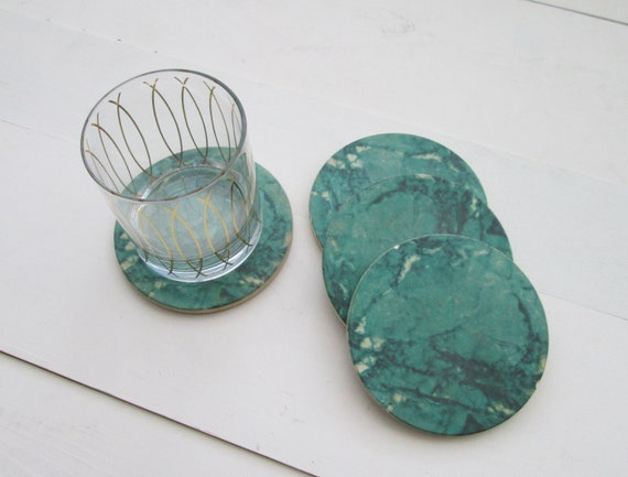 Round Green Marble : Green marble coasters round vintage