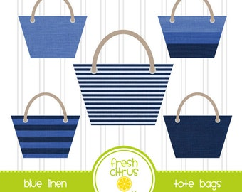 Blue Tote Bags Clip Art Summer Beach Bag Linen Tote
