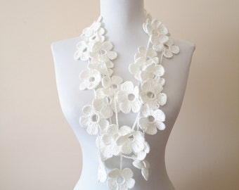 Hand crochet floral lariat scarf dirty white floral lariat scarf necklace handcrochet floral scarf necklace white necklace scarf