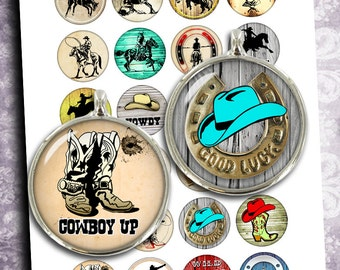 "Cowboy Round images 35mm 30mm 1.5"" 25mm 1"" Rodeo Printable Circle Bottle cap images Cabochon Digital Collage Sheet - Instant Download"