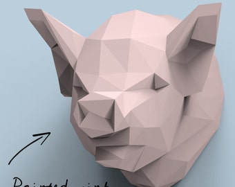 DIY paper sculpture mounted pig swine head trophy (low polly papercraft)