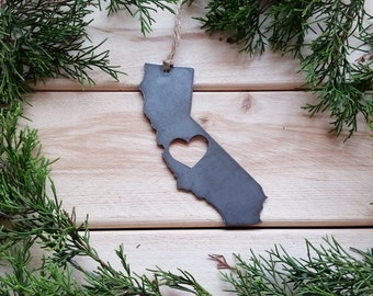 California State Ornament Rustic Raw Steel Love CA Holiday Gift Christmas Tree Metal Decor Wedding Favor By BE Creations