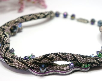 Necklace Snake on the lawn three dimensional embroidery crochet beads soutaches