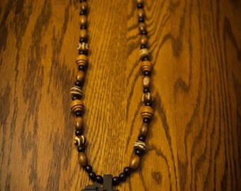 Black Africa On Brown Wood and Bone Beads
